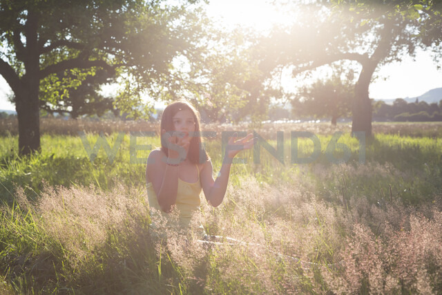Young girl sitting on meadow at summer evening - LVF07216