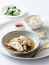 Still life of hainan chicken with steamed rice - CUF39509