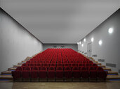 Red chairs in empty auditorium - CUF39565