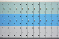 Rows of school lockers with doors closed - CUF39589