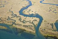 Spain, Andalusia, Punta Umbria, Marismas del Odiel, aerial view - RUEF01882