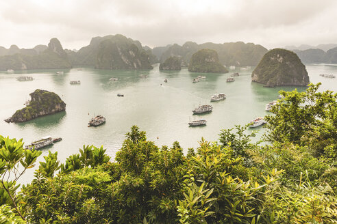 Vietnam, Ha Long bay, with limestone islands and tourboats - WPEF00647
