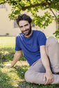 Portrait of mid adult man sitting on grass - CUF39819