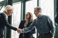 Mature businessman greeting senior colleague in meeting at office - MASF08054