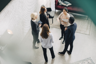 High angle view of business people discussing in meeting at office - MASF08060