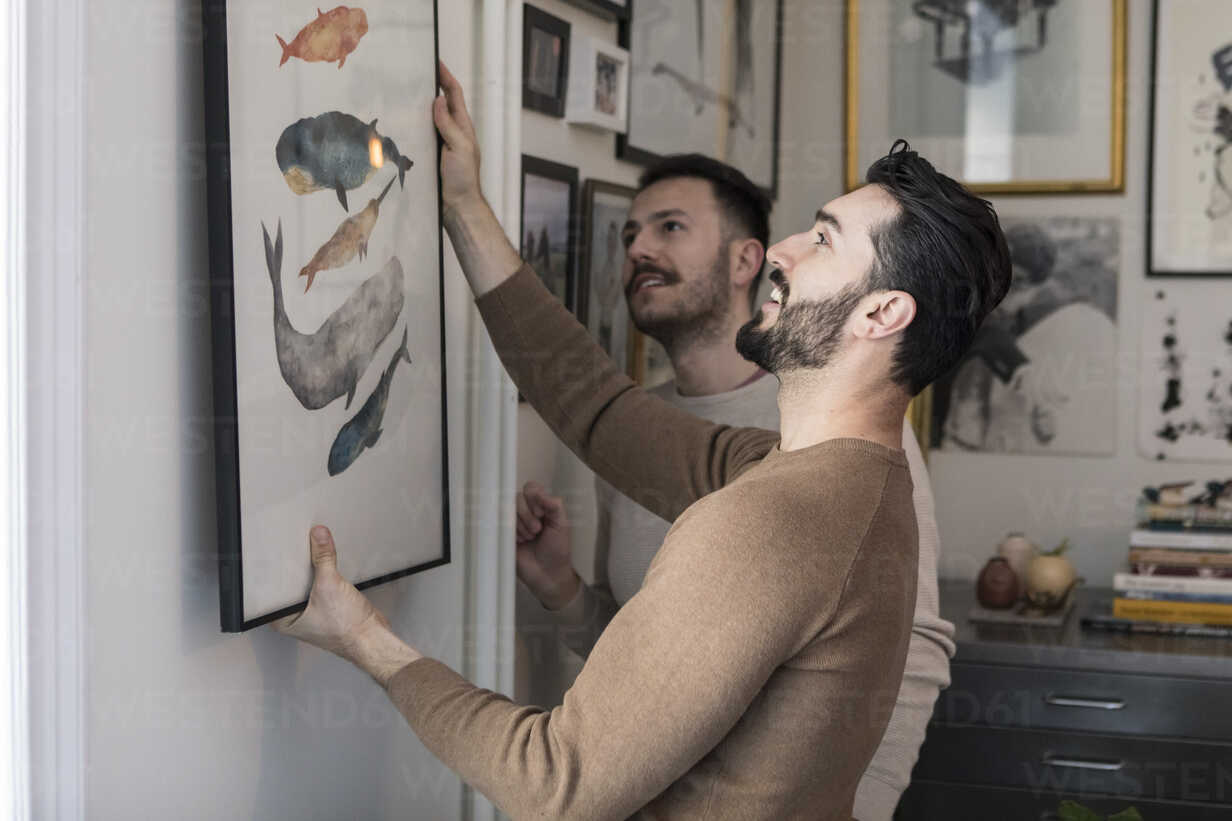 Homosexual couple hanging painting on wall at home - MASF08198 - Maskot/Westend61