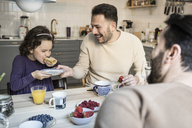 Laughing father holding plate while daughter eating pancake at table - MASF08225