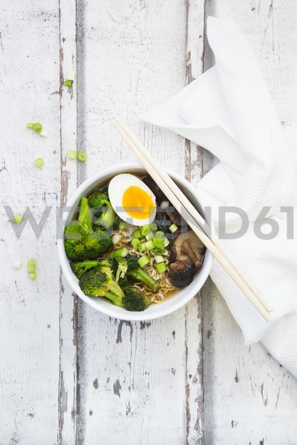 Bowl of Ramen soup with egg, broccoli, noodles, shitake mushroom and spring onions - LVF07246