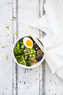 Bowl of Ramen soup with egg, broccoli, noodles, shitake mushroom and spring onions - LVF07246