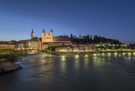Austria, Upper Austria, Steyr, River Enns and St Michael's Church at blue hour - EJWF00904