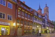 Germany, Lower Saxony, Goettingen, old town at blue hour - KLR00619