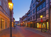 Germany, Lower Saxony, Goettingen, old town at blue hour - KLRF00625