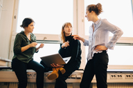Low angle view of confident female colleagues discussing against window at creative office - MASF08298