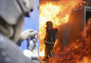 Firefighters in fire simulation training facility - CUF40678