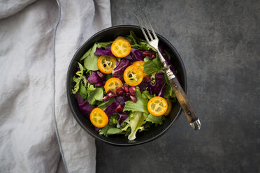Bowl of mixed green salad with red cabbage, kumquat and pomegranate seeds - LVF07263