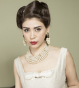 Portrait of woman in vintage clothes and pearls - CUF41343