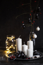 Advent decoration with white candles and black baubles - SBDF03647