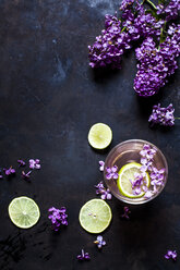 Glass of homemade lilac lemonade with slices of limes - SBDF03659