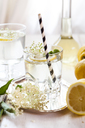 Glass of homemade elder lemonade with slice of lemon - SBDF03662