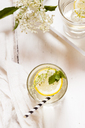 Glass of homemade elder lemonade with slice of lemon - SBDF03665