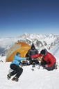 People camping in mountains, Chamonix, France - CUF42387