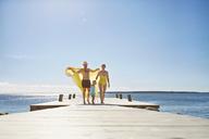 Female toddler and parents on pier, Utvalnas, Gavle, Sweden - CUF42683
