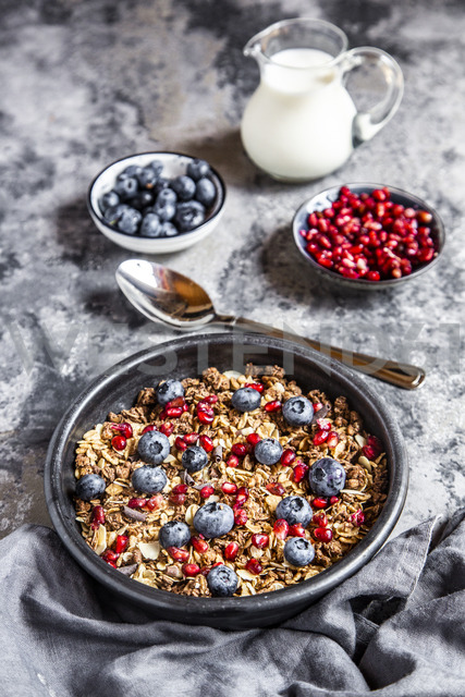 Bowl of muesli with blueberries and pomegranate seed - SARF03841