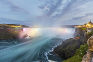 Canada, Ontario, Niagara Falls dramatic long exposure view at dusk - WPEF00698