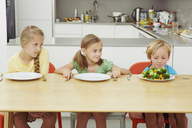 Children staring at full plate of greens - CUF42967
