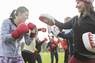 Determined women boxing in sunny park - CAIF21182