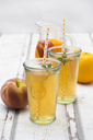 Two glasses of peach orange ice tea - LVF07309