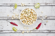 Bowl of popcorn flavoured with chili and lime - LVF07312