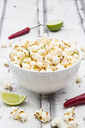 Bowl of popcorn flavoured with chili and lime - LVF07315