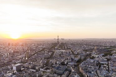 France, Paris, City with Eiffel Tower at sunset - WDF04737