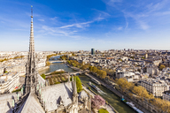 France, Paris, View over the city from Notre Dame cathedral - WD04743