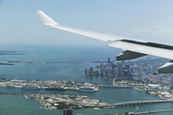 Airplane wing over Miami, Florida, USA - CUF43551