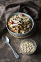 Bowl of porridge with bell pepper, champignon and parmesan - EVGF03374
