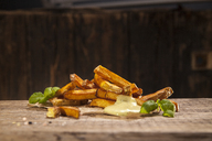 Hand made french fries with mayonnaise on wood - NAF00104