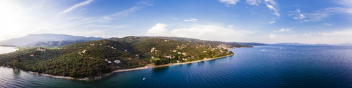Greece, Aegean Sea, Pagasetic Gulf, Panoramic view of Afissos in the dusk - AMF05831