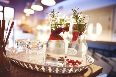 Jar of fresh cocktail on the tray - ABIF00727