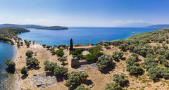 Greece, Aegean Sea, Pagasetic Gulf, View from Bay of Milina to Alatas Island, Holy Forty Monastery - AMF05856