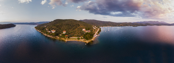 Greece, Aegean Sea, Pagasetic Gulf, Peninsula Pelion, Sound of Trikeri, Aerial view, Bay of Milina - AMF05871
