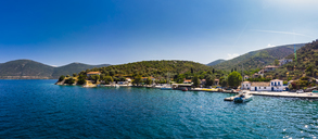 Greece, Aegean Sea, Pagasetic Gulf, Peninsula Pelion, Aerial view of fishing village and bay of Kottes - AMF05874