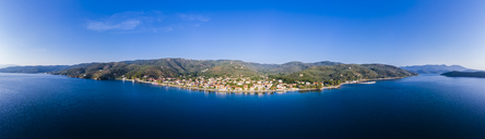 Greece, Aegean Sea, Pagasetic Gulf, Peninsula Pelion, Aerial view of Milina in the evening - AMF05885