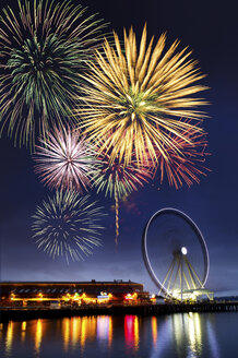 Fireworks and dock at Puget Sound, Seattle, USA - ISF17210