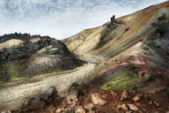 Iceland, South West, Landmannalaugar, landscape and path - DMOF00057