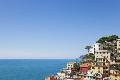 Italy, Liguria, Cinque Terre, Riomaggiore, Riviera di Levante, typical houses and architecture, typical colourful houses - GWF05600
