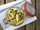 Jar with vegan pasta salad - HAWF01013