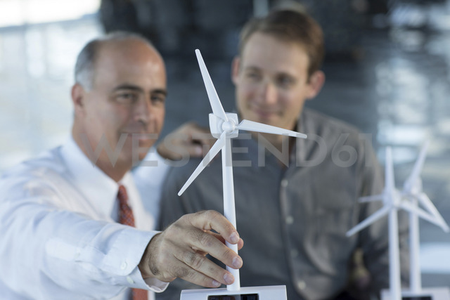 Engineers with model wind turbines - ISF17668