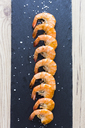 Row of shrimps on slate, salt - GIOF03995